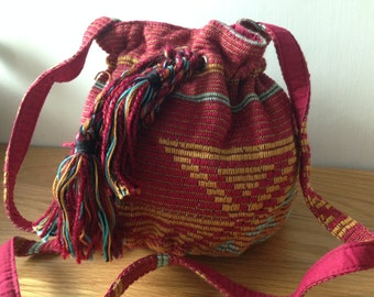 Multi colour Ethnic Aztec fabric mini duffle bag, casual bag, cross body bag, day bag