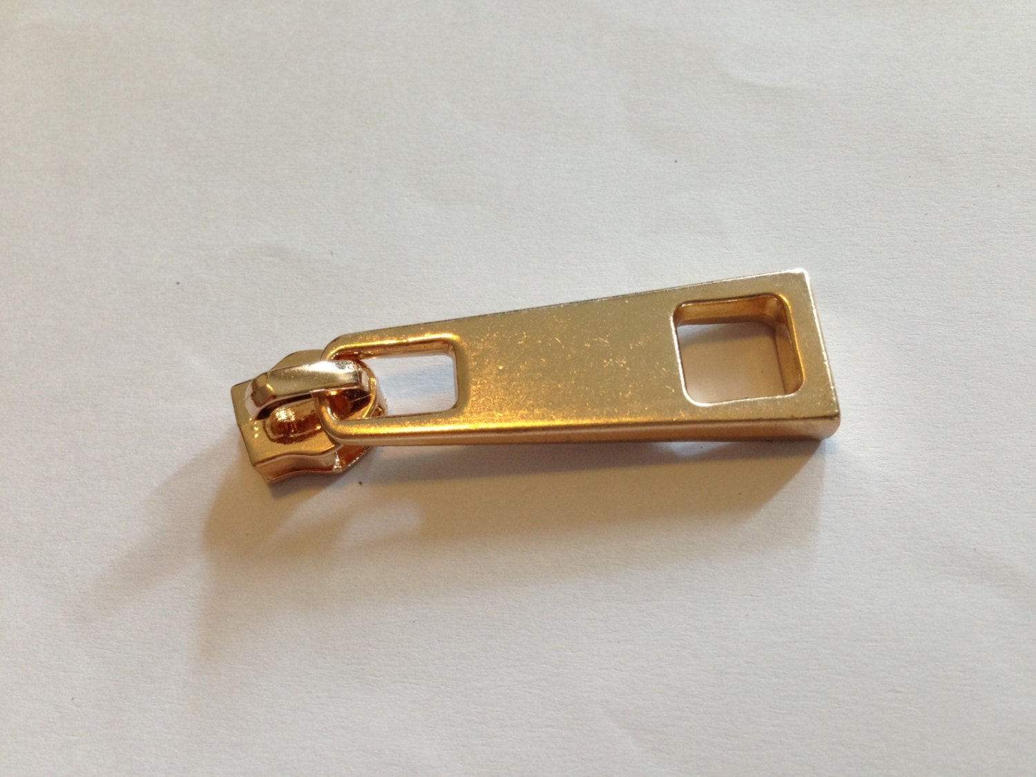 New Large Rectangular Light Gold Zip Pull With Circle Ring