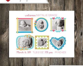 Baby Announcement: Baby Girl Natalie Grace Custom Multi-Photo Digital Birth Announcement