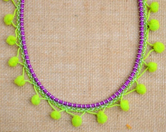 Neon Green and Purple Pom-pom Necklace