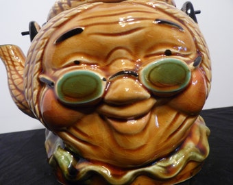 Vintage Teapot  Face Granny Wearing Glasses Bamboo, made in Japan