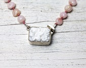 Hand knotted pink peruvian opal necklace with vintage glass clasp handmade, one of a kind by ladeDAH!