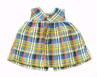 Vintage Multi Color Plaid Dress for Toddler Girl 2T