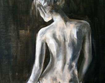 Fine Art Print 14 x 14 inches - from original figure painting of a female's back by Meredith O'Neal