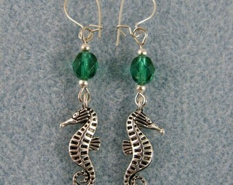 Dangle earrings with Tibetan silver seahorses and crystal beads