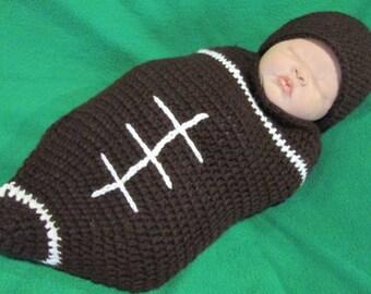 Crochet Football Photo Prop Baby Sleep Cocoon