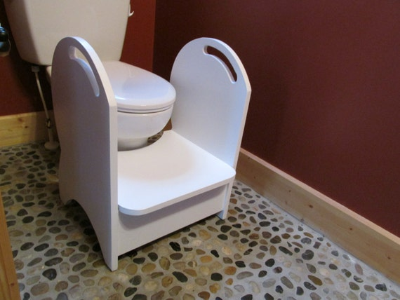 Handmade Wood Potty Step Stool White