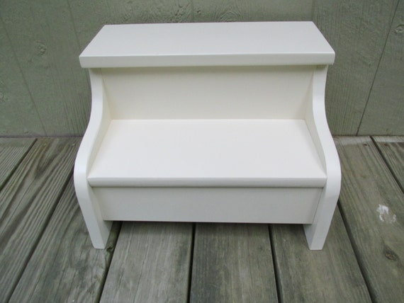 Kids Painted Wooden Step Stool Heirloom White By Clemswshop