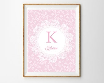 Soft Pink Monogram Print for a Baby Girl's Nursery - Floral Mongram - Soft Pink Wall Art - Instant Download Wall Art - Print at Home