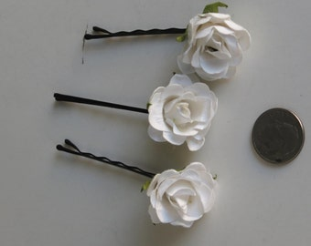 Set of 3 Flower Hair Pins Wedding Hair Bobby Pins  Wedding Accessory Bridal Flower Bobby Pins