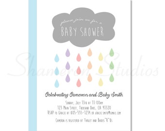 Custom Baby Shower Invitation Download File with Cloud & Raindrops