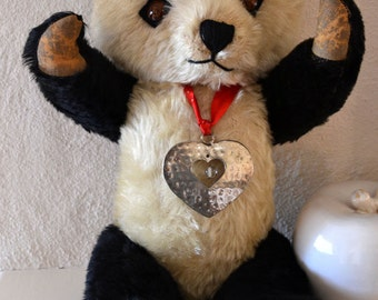 Rare 20 Inches Vintage Irish Musical Mohair Panda Bear 1950s with Foot Label