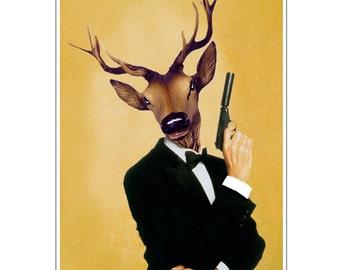 Deer Print,  Antler, Stag, Deer Art, Deer Art Print, Deer Artwork, Wall Decor, Wall Art, Deer Wall Hanging, 8x10, Black, James Bond, Humor