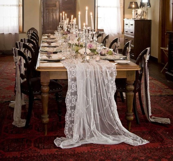exquisite lace wedding tablecloth white or by moderncelebrations. Black Bedroom Furniture Sets. Home Design Ideas