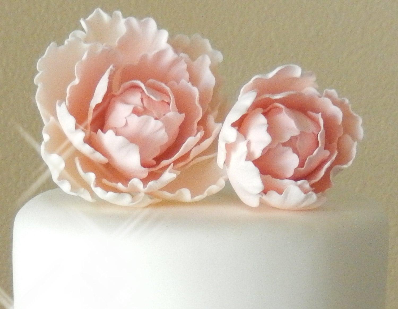 Pink Sugar Gumpaste Peony Set Wedding Cake Topper