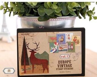 16 Sheets Korea Vintage Stamp Stickers Paper Deco Sticker --Deer