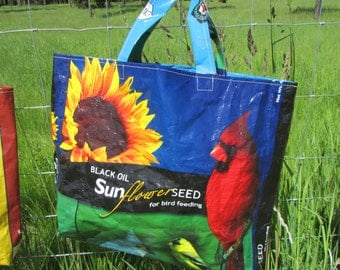 Upcycled FarmSwag Black Oil Sunflower Bird Feedbag Tote / Market Bag. FREE USA Shipping