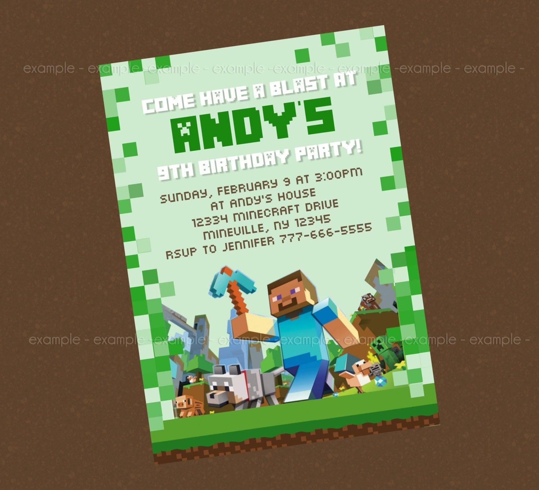 Minecraft Birthday Invitations Printable Minecraft birthday invitation