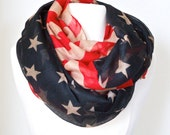 Red White and Blue Americana Vintage American Flag Infinity Scarf Patriotic scarf Fashion Americana - Holidays Gifts for Her