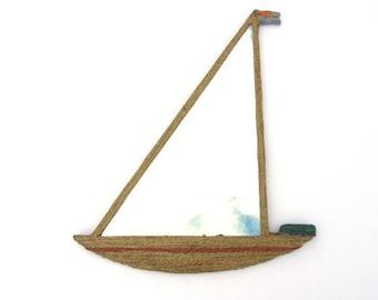 Decorative Wall Mirror,Sail-boat decorative mirror,handmade mirror,hemp rope mirror,hemp rope sail boat