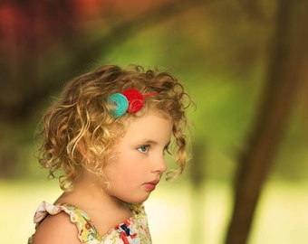 Turquoise Red  Baby girl  Headband ,Double Rosettes  Headband, Red Turquoise Fabric headband Headband