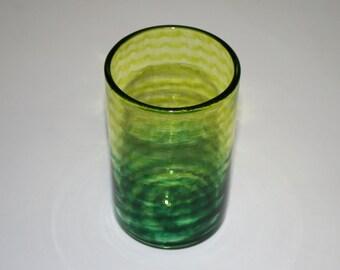 LIME & DARK GREEN Two Tone Spiral Glass, Hand Blown Glass Tumbler, Art Glass, Blown Glassware, Blown Drinking Glasses, Hand Blown Glass Art