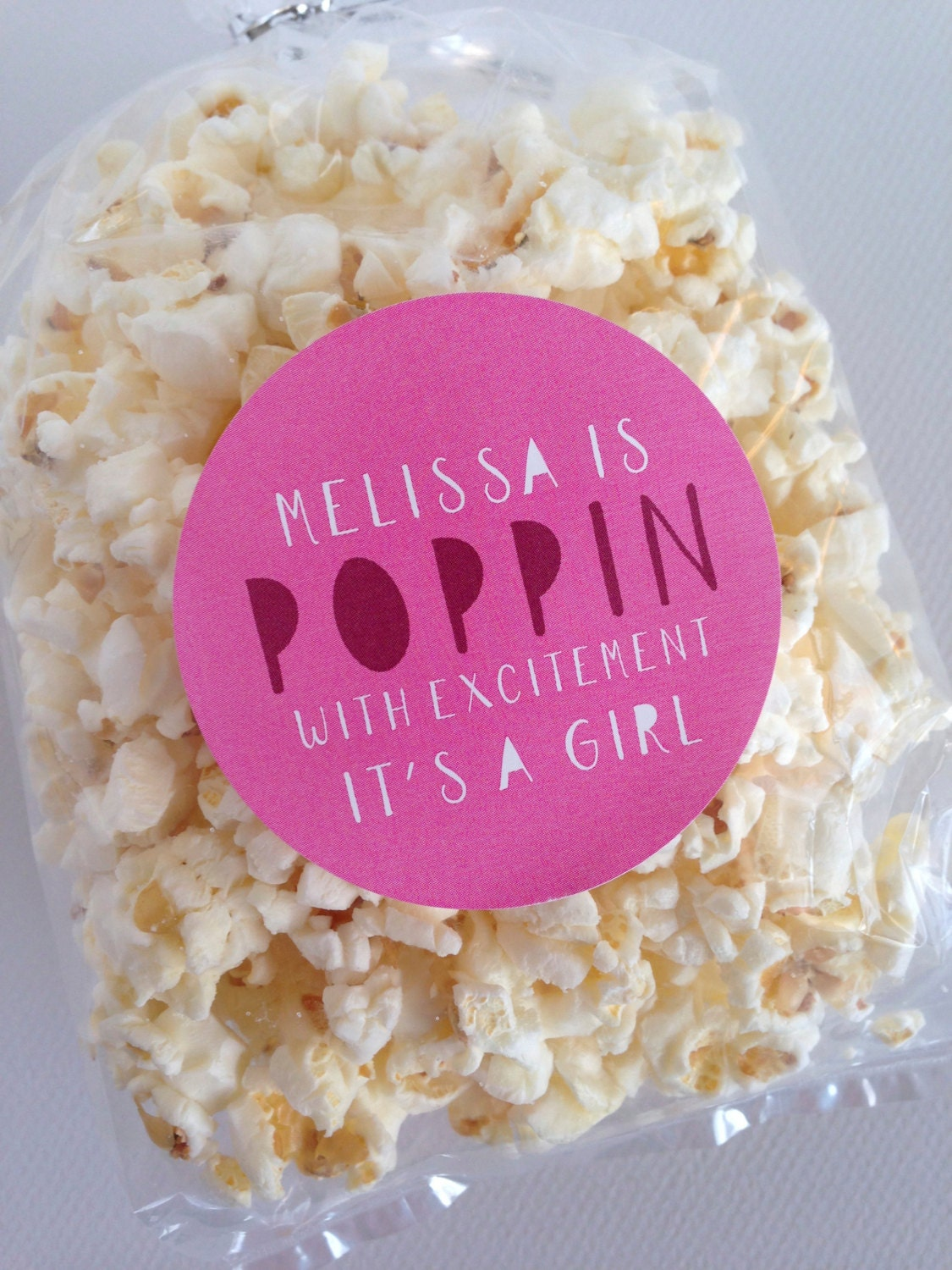 its a girl popcorn favors baby shower favor sticker by invitedtoo