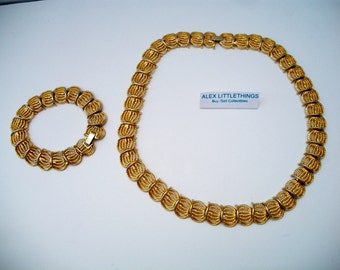Gold Twisted Rope Link Necklace Bracelet Set Vintage Jewelry