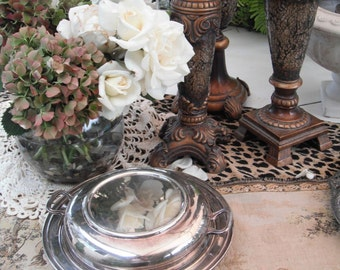 Vintage Sheffield Silver Plate Covered Serving Bowl / Breakfast in Bed