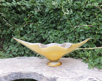 Vintage Art Glass Compote / Large Amber Table Bowl
