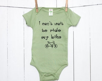 Baby Organic Cotton Infant One Piece Bodysuit Creeper in Avocado Green - I Can't Wait to Ride My Bike