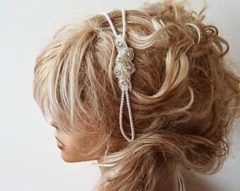 Pearl Headband, Wedding Pearl Headband, Bridal, Pearl Headband, Flower and pearl, Bridal Double, Bridal Hair Accessory, Wedding Accessory