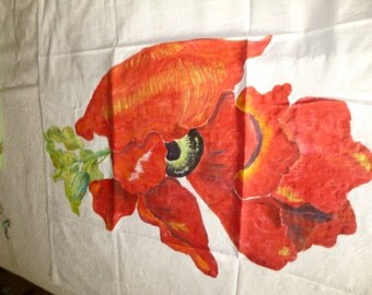 Handmade Orange Poppy Tablecloth 36 x 36