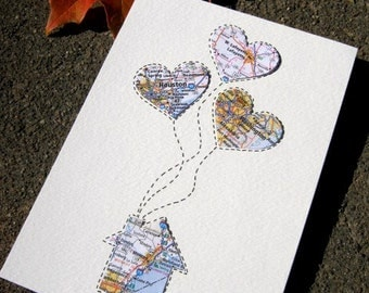 Personalized Map Gift - Small Size 5x7 - free shipping - Design #57