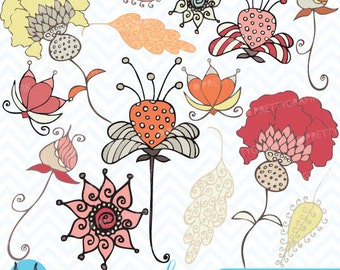 Autumn flowers clipart commercial use, vector graphics, digital clip art, digital images - CL395