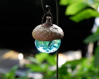 Fairy garden accessories Acorn Cap Lantern - robin's egg blue miniature - handmade - decorative hook included - terrarium supplies