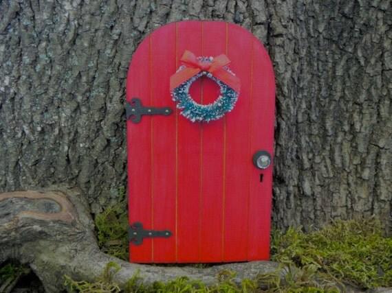 Fairy door elf door fairy garden miniature wooden red with for Wooden elf door