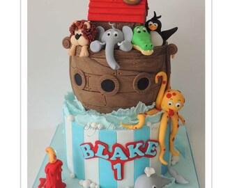 Noah's Ark 2 Tier Ganached Cake PDF Tutorial