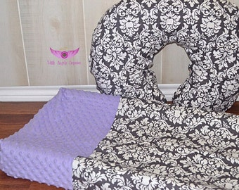 Michael Miller Gray/ Charcoal Dandy Damask and Lavender/ Light Purple Minky Changing Pad Cover, and Boppy Pillow Cover Set