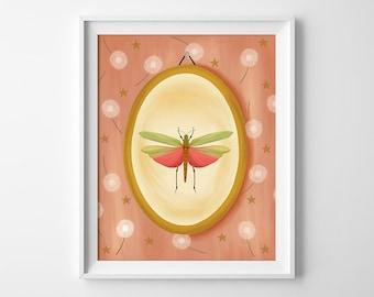 Pink Grasshopper Art Print - Grasshopper Illustration - Grasshopper Wall Art