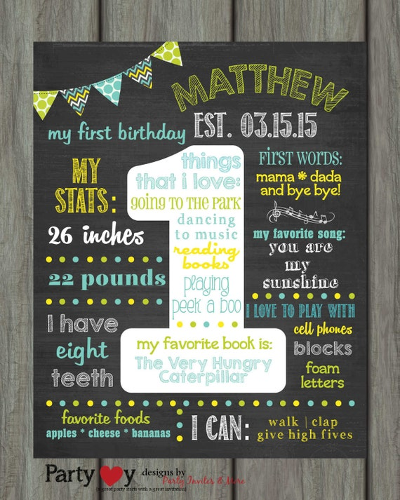 items similar to first birthday chalkboard poster first birthday milestone chalkboard. Black Bedroom Furniture Sets. Home Design Ideas