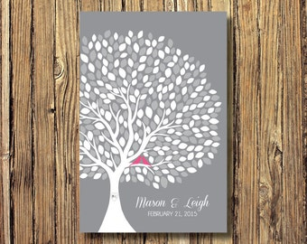Wedding Tree Guestbook Alternative Art Print-Leaves-Guest Book-Poster OR Canvas-16x20-18x24-20x30-24x36-White-Grey-Custom Colors
