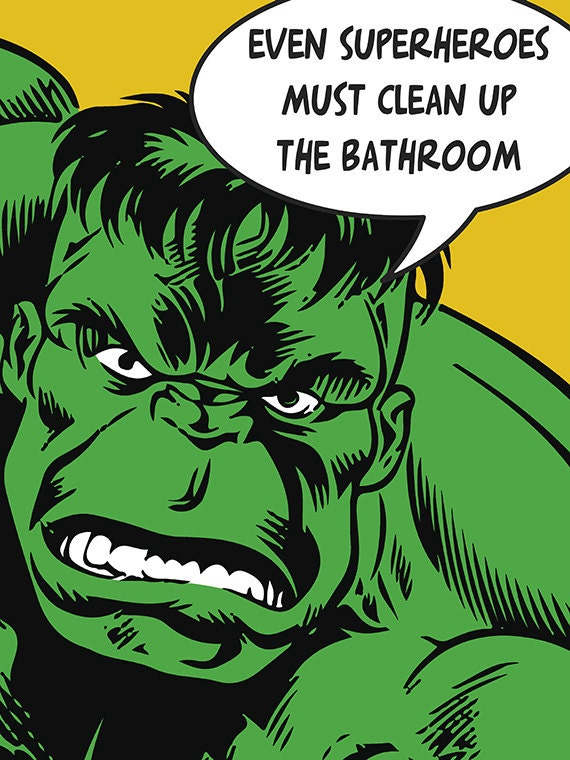 Hulk Hulk Art Superhero Art Kids Bathroom Decor by Woofworld