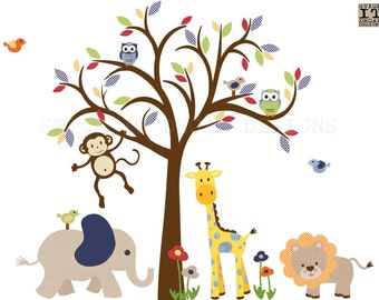 Boy Room Wall Decal, Safari Animal Wall Decal, Nursery Wall Decal, Jungle Animal wall decal, monkey wall decal, Gingham Style Design