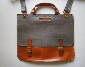 Leather Satchel Made in the USA Raw Leather Messenger Bag