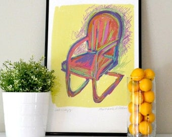 VINTAGE RED CHAIR Warhol-style Sketch on Yellow Background