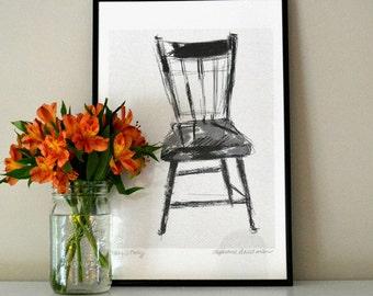 VINTAGE BLACK CHAIR Realistic Sketch of Vintage Black Chair