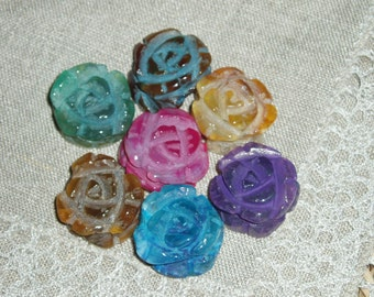 Stunning Agate Rose Beads Grade A, Colorful, 20~24 x10~15 mm