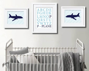Airplane Nursery Artwork. Set of 3. Printable.