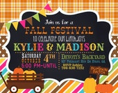 5x7 Fall Festival Pumpkin Birthday Invitation, Birthday Card, Party Invitation, Polka Dot, Diy Halloween, stripes, plaid Chalkboard